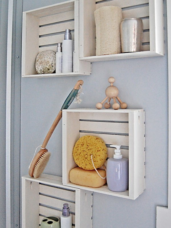 40+ Brilliant DIY Storage and Organization Hacks for Small Bathrooms --> Transform bare bathroom walls with fast and easy crate shelving