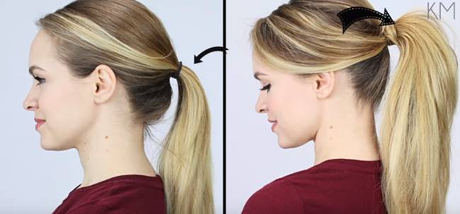 Creative Ideas - 5 Minute Beauty Hack To Give Extra Volume To Your Ponytail