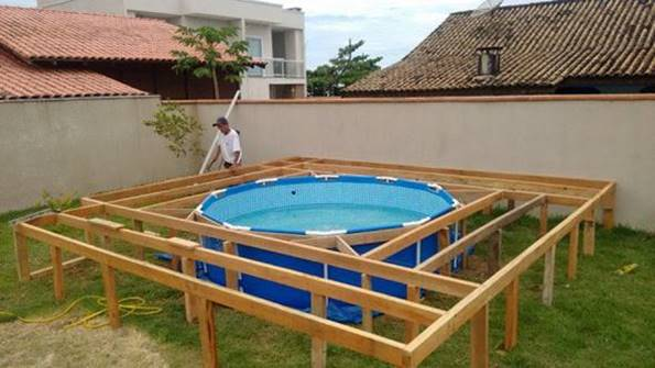 Creative ideas diy above ground swimming pool with for Above ground pool decks diy