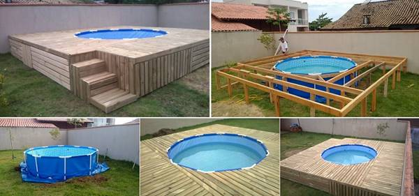 Creative ideas diy above ground swimming pool with for Construire deck piscine