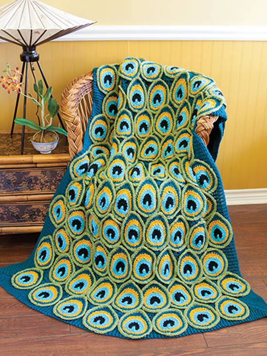 Creative Ideas - DIY Pretty Crochet Peacock Blanket