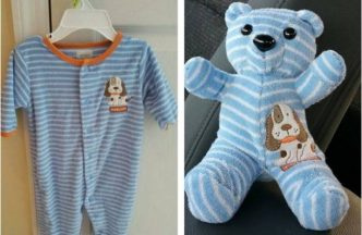 Creative ideas turn outgrown baby clothes into keepsake teddy bears