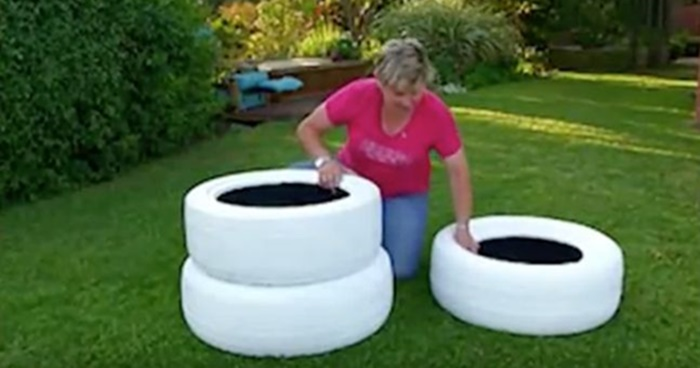Creative Ideas - DIY Tire Planters