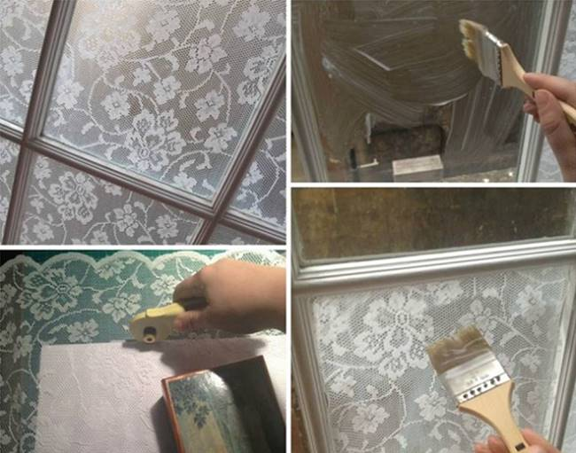 Creative ideas diy lace window treatment with cornflour for Creative window designs