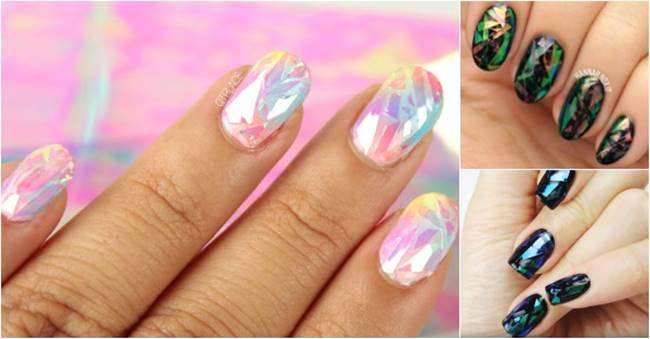 Creative Ideas - DIY Shattered Glass Nail Art
