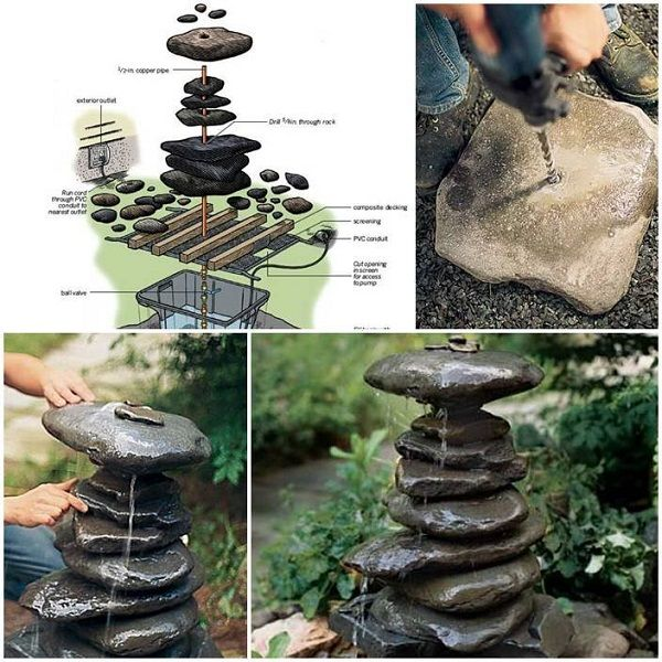 40 creative diy water features for your garden i for Recirculating water feature