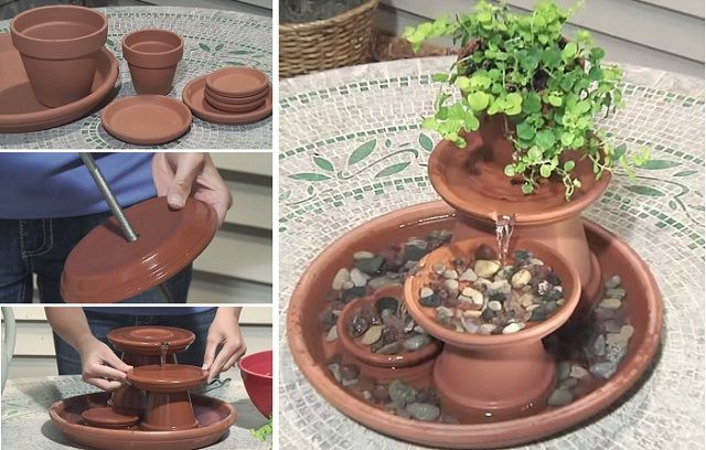 40+ Creative DIY Water Features For Your Garden --> DIY Table Top Terra Cotta Fountain
