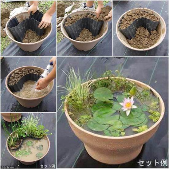 40+ Creative DIY Water Features For Your Garden --> DIY Mini Garden Pond in a Container