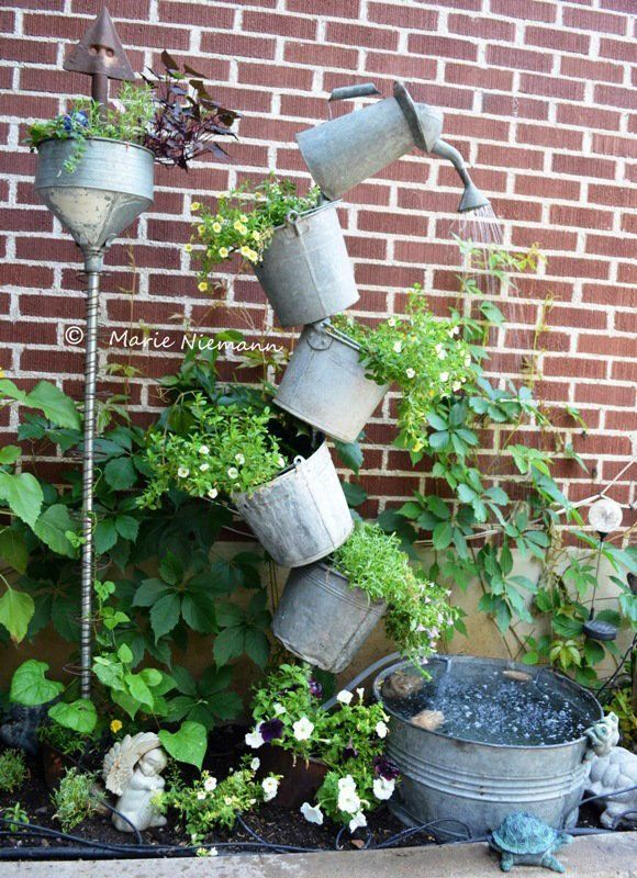 40+ Creative DIY Water Features For Your Garden --> How to Make a Unique Solar Fountain in a Small Space