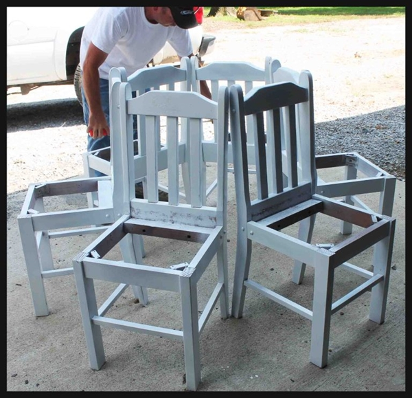 Creative Ideas - How to Build a Bench Around a Tree Using Old Kitchen Chairs 2