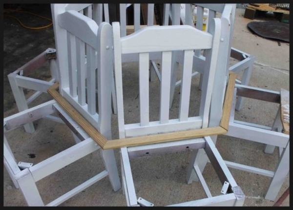 Creative Ideas - How to Build a Bench Around a Tree Using Old Kitchen Chairs 3