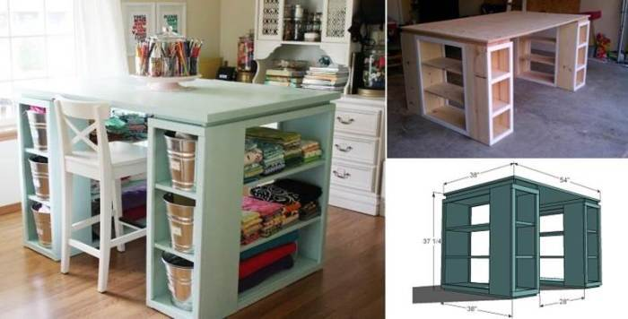 25+ Creative DIY Projects to Make a Craft Table -- DIY Modern Craft Table