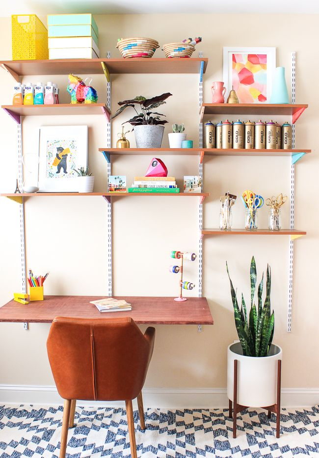 25+ Creative DIY Projects to Make a Craft Table --> DIY Mounted Wall Desk
