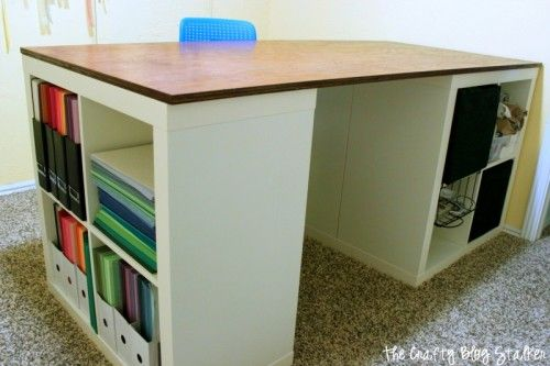 25+ Creative DIY Projects to Make a Craft Table --> How to Make Your Own Custom Craft Table Using Ikea Kallax Shelves and a Tabletop