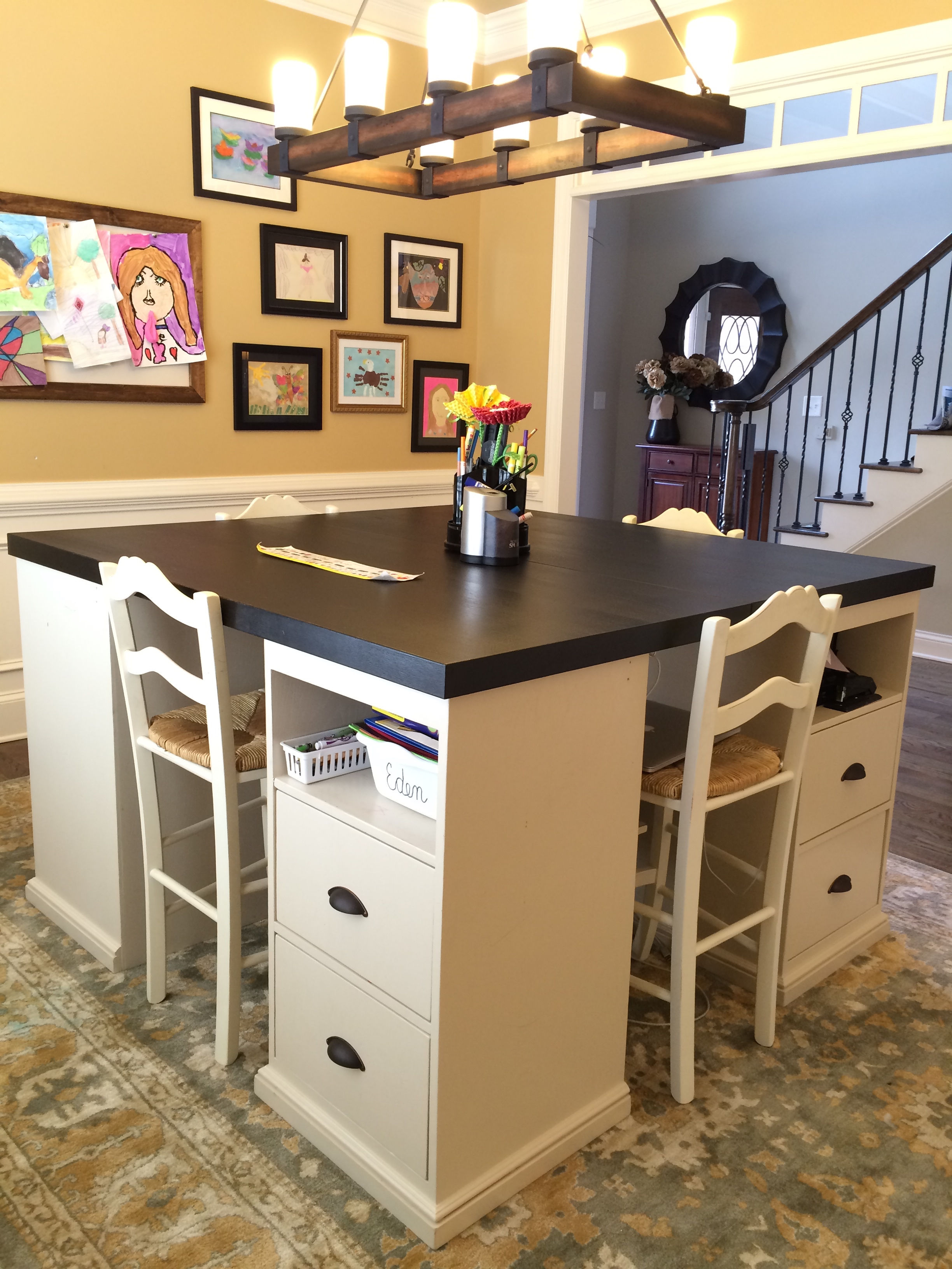 25+ Creative DIY Projects to Make a Craft Table --> How To Build A Four Station Craft Desk