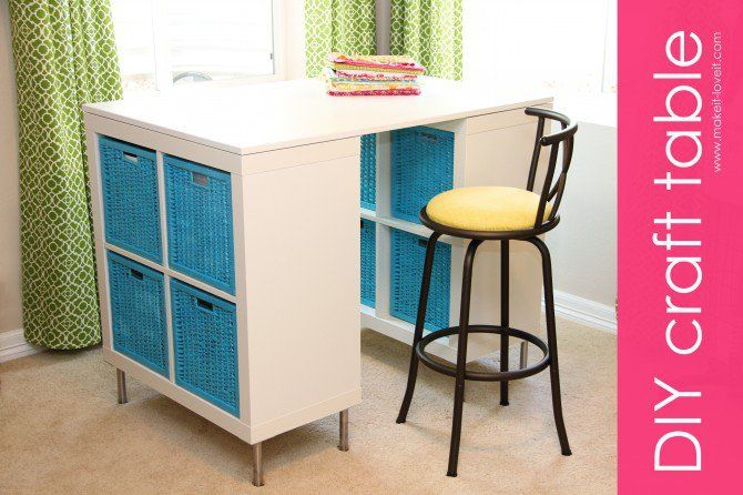 25+ Creative DIY Projects to Make a Craft Table --> Make a Counter Height Craft Table from 2 Shelves, a Table Top and 8 Legs