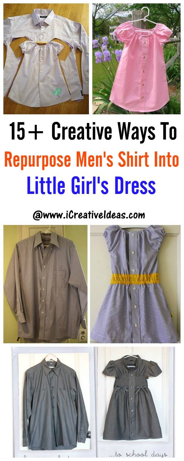 15+ Creative Ways To Repurpose Men's Shirt Into Little Girl's Dress