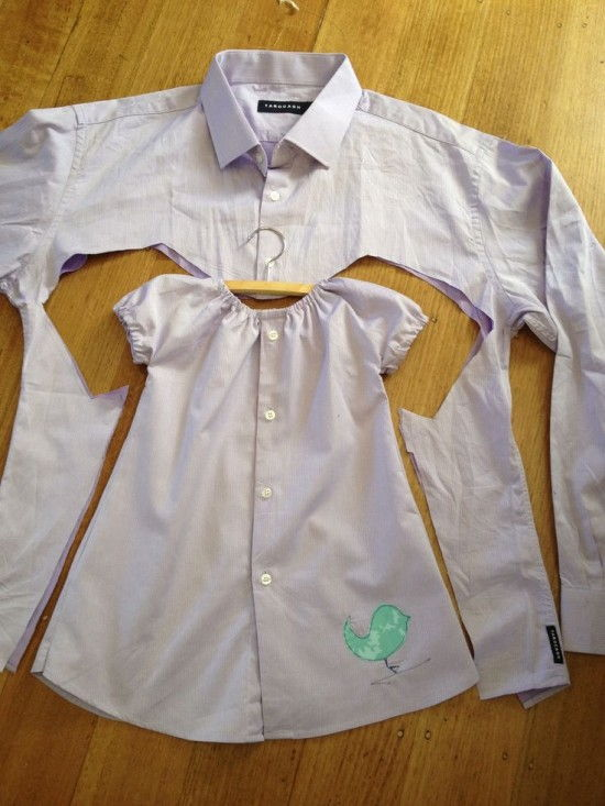 15+ Creative Ways To Repurpose Men's Shirt Into Little Girl's Dress -- Upcycled Men's Shirt to Toddler Dress