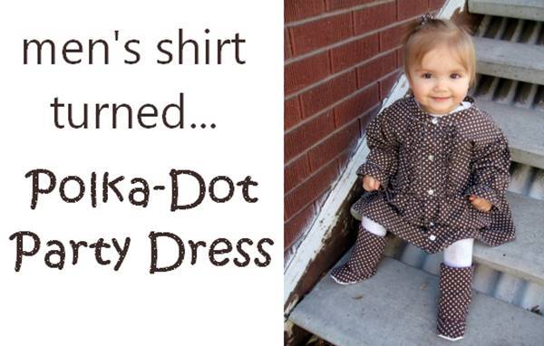 15+ Creative Ways To Repurpose Men's Shirt Into Little Girl's Dress -- Men's Shirt Turned Polka Dot Party Dress