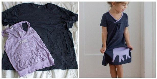 15+ Creative Ways To Repurpose Men's Shirt Into Little Girl's Dress -- Men's T-Shirt to Girl's Dress