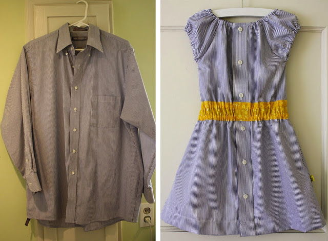 15+ Creative Ways To Repurpose Men's Shirt Into Little Girl's Dress -- Turn a Men's Dress Shirt into a Girl's Shirt Dress