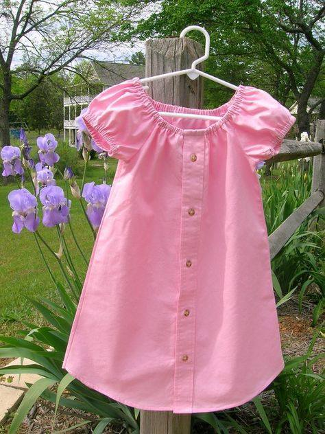15+ Creative Ways To Repurpose Men's Shirt Into Little Girl's Dress -- Turn Men's Shirt into Little Girl's Peasant Dress