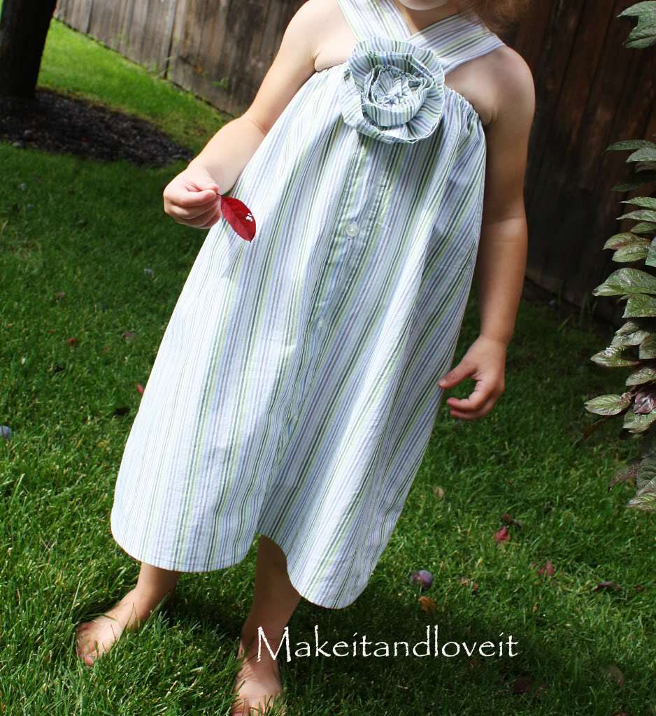 15+ Creative Ways To Repurpose Men's Shirt Into Little Girl's Dress -- Simple Dress Repurposed From Men's Button-Up Shirt