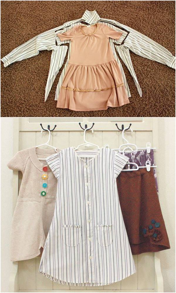 15+ Creative Ways To Repurpose Men's Shirt Into Little Girl's Dress -- Repurpose Men's Shirt Into Toddler Dress