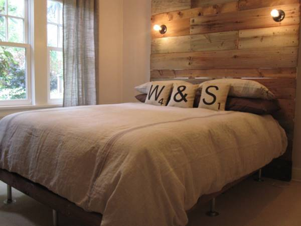 DIY Wooden Bed Frame with Wooden Headboard