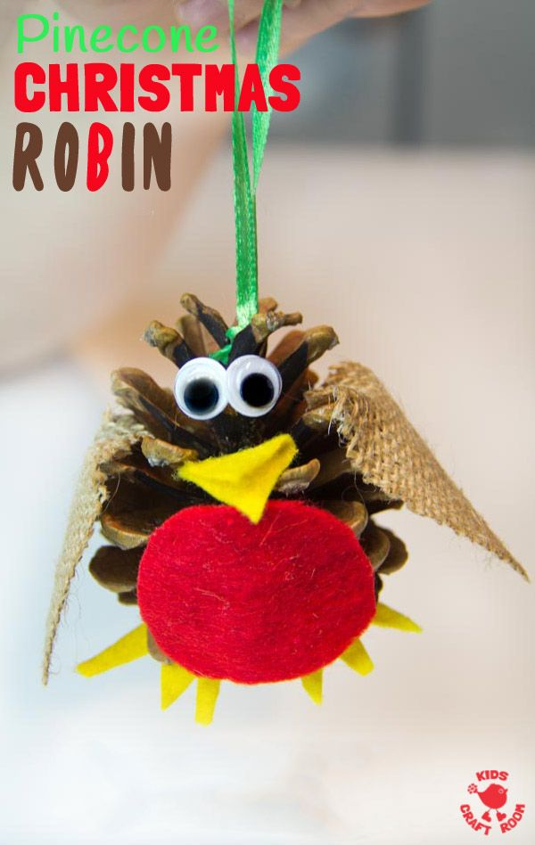 Pinecone Christmas Robin Ornaments