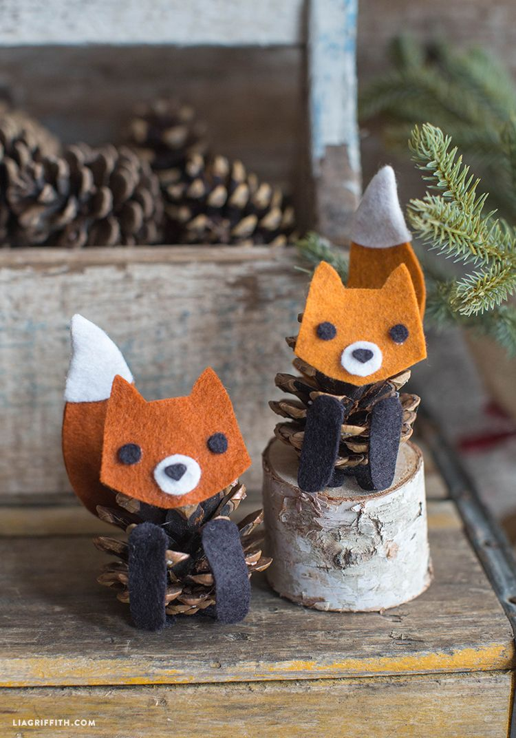 Felt and Pinecone Fox Ornaments