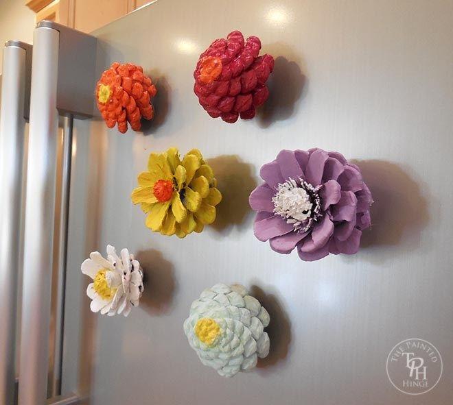 Pinecone Flower Refrigerator Magnets
