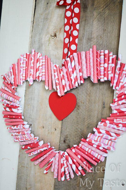 DIY Paper Roll-Up Valentine Wreath