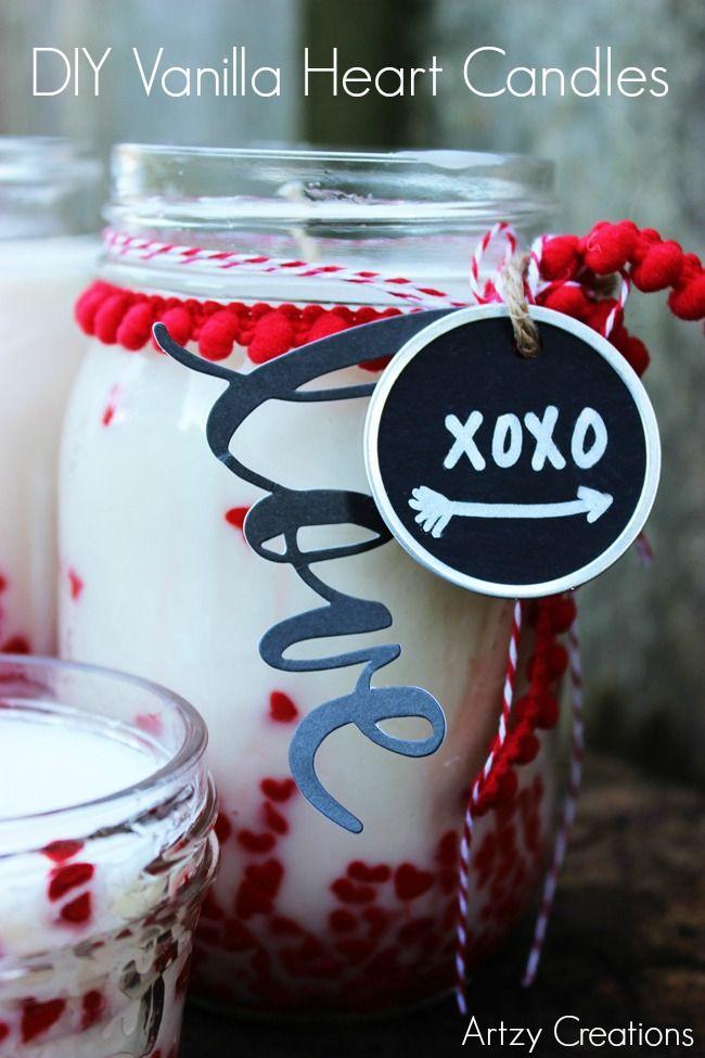 DIY Vanilla Heart Candles