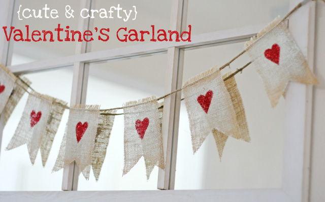 DIY Cute and Crafty Burlap Valentine's Garland