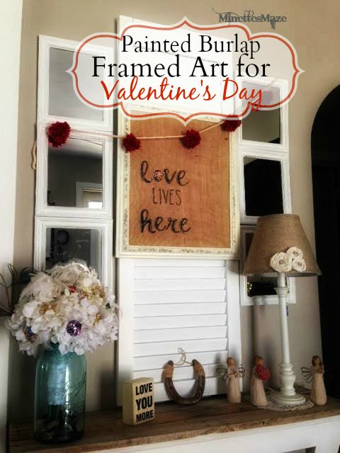 Painted Burlap Framed Art for Valentine's Day