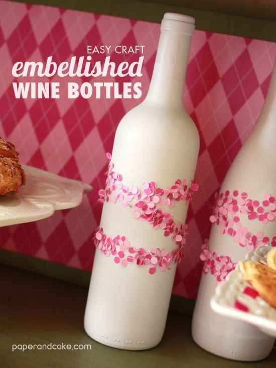Sweet Heart Embellished Wine Bottles