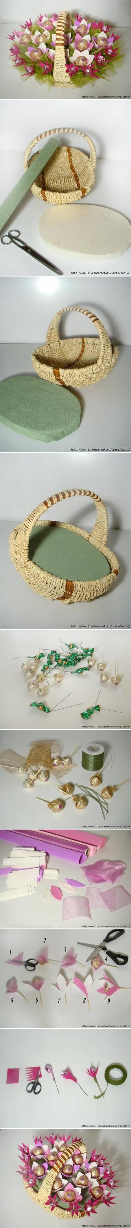 DIY Candy Bouquet Basket