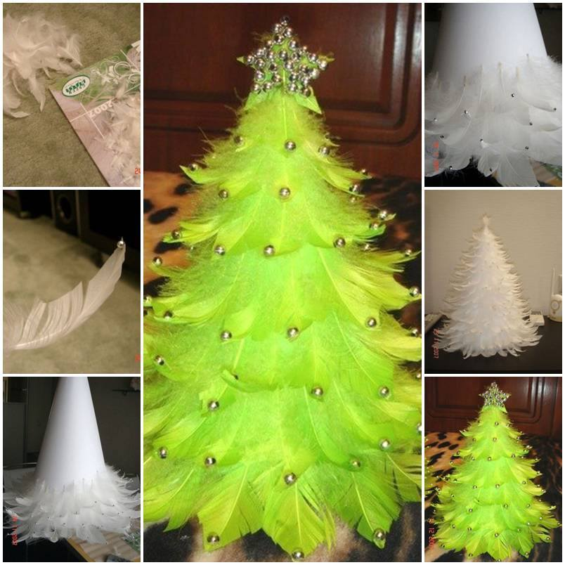 diy beautiful feather christmas tree - Feather Christmas Trees