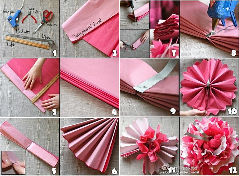DIY Beautiful Tissue Paper Flowers for Wedding - photo#32