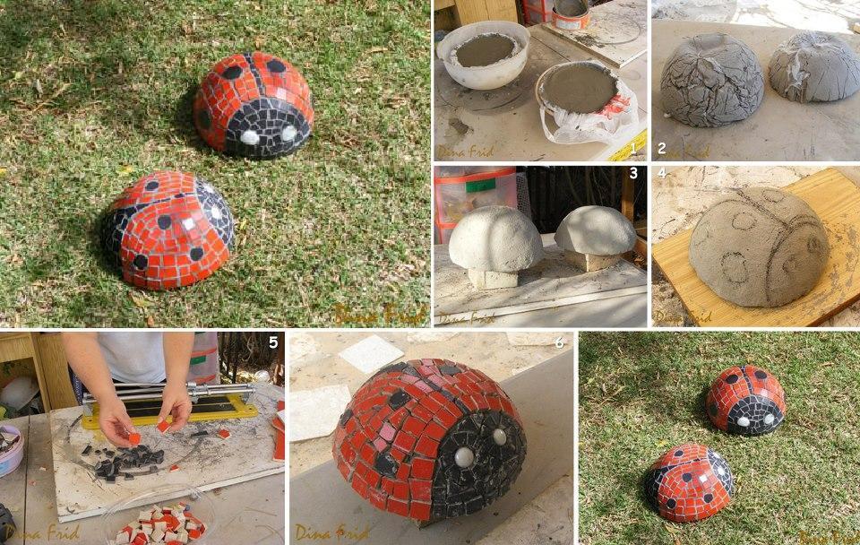 DIY Ladybug Mosaic Garden Sculpture