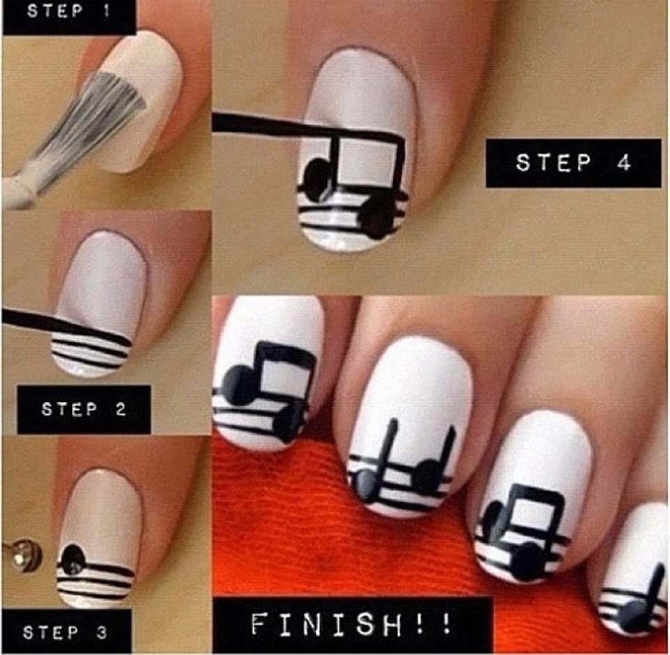 DIY Musical Notes Nail Art