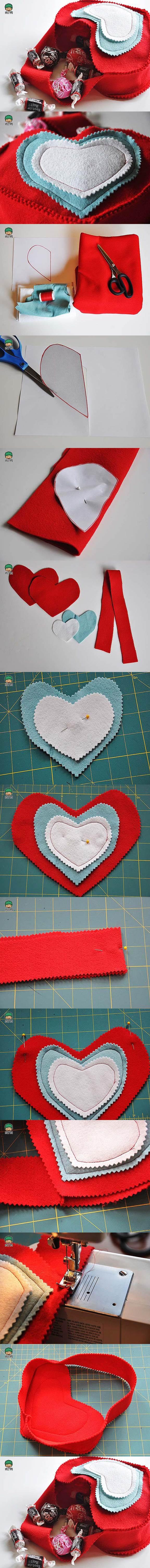 DIY Valentines Day Felted Gift Bag 2