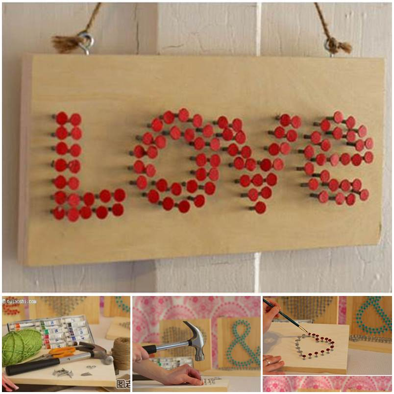 Diy Valentine 39 S Day Nail Art Wall Decoration