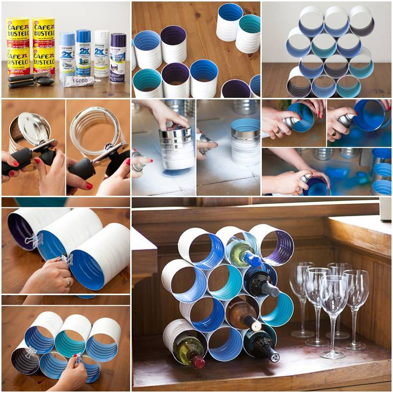 DIY Wine Rack from Tin Cans