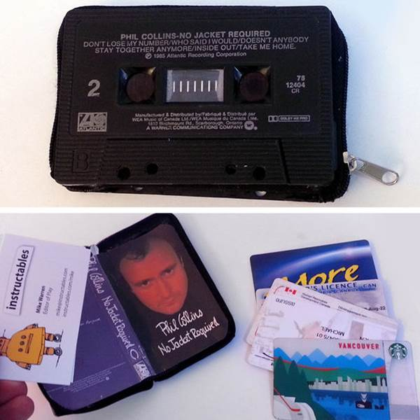10 Creative Ways to Repurpose Your Old Tech Products --> Cassette tape wallet