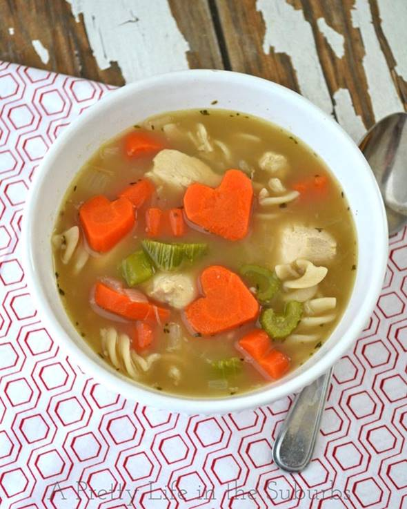 Chicken Noodle Soup with Heart-Shaped Carrots