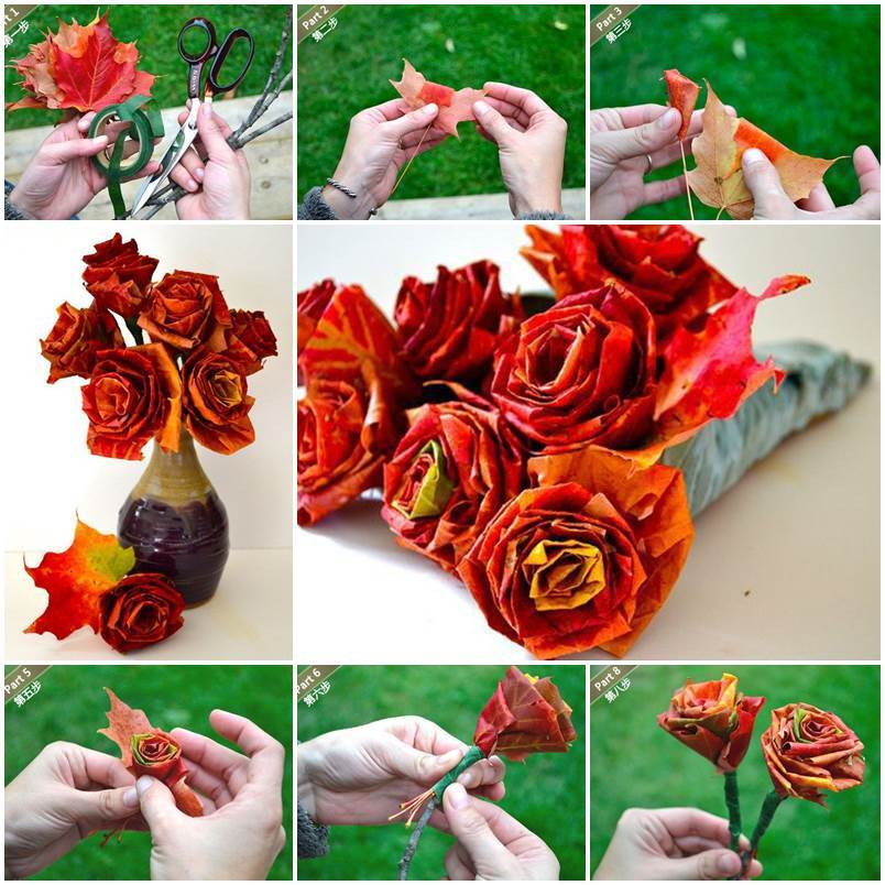 DIY Beautiful Roses with Maple Leafs 1