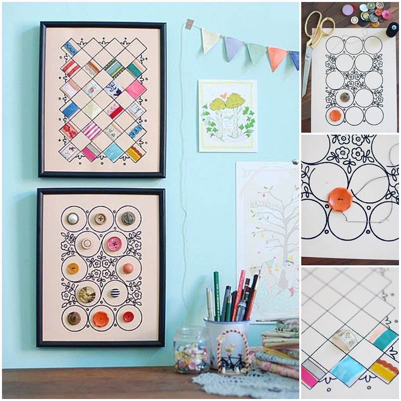 DIY Button and Cloth Wall Art