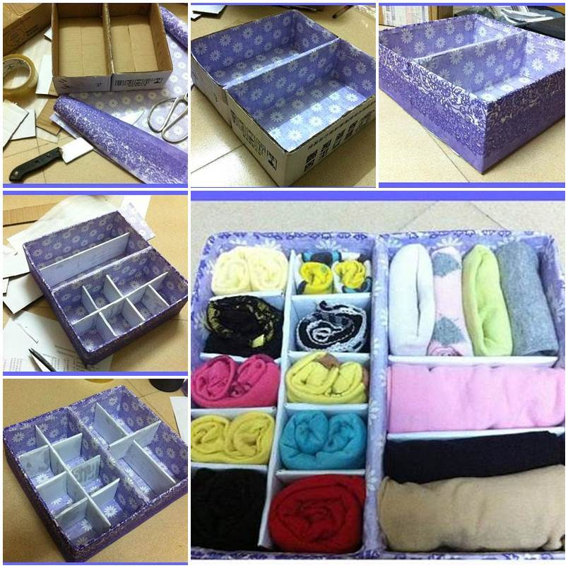 & DIY Cardboard Underwear Storage Box